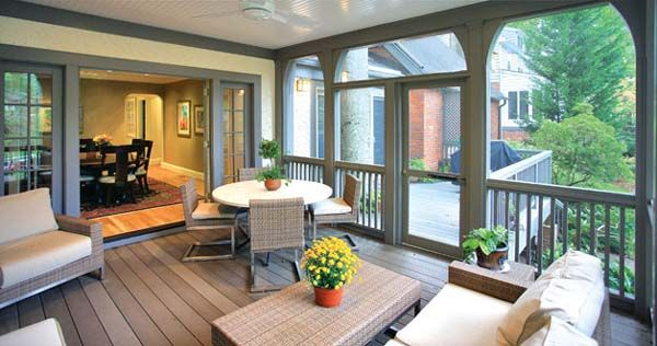 An exterior renovation enclosed a portion of the deck, creating a beautiful and useful screened in porch.   houzz.com