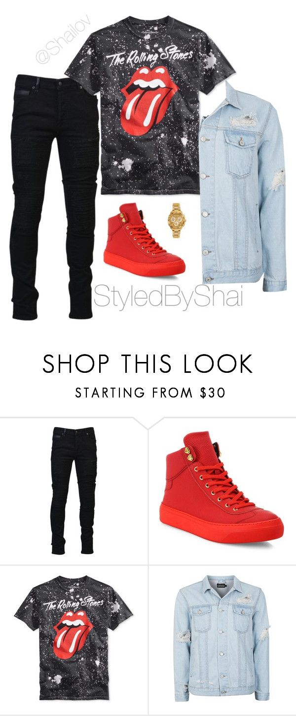 """1"" by slimb ❤ liked on Polyvore featuring Marcelo Burlon, Jimmy Choo, Topman, Versace, men's fashion, menswear and StyledByShai"
