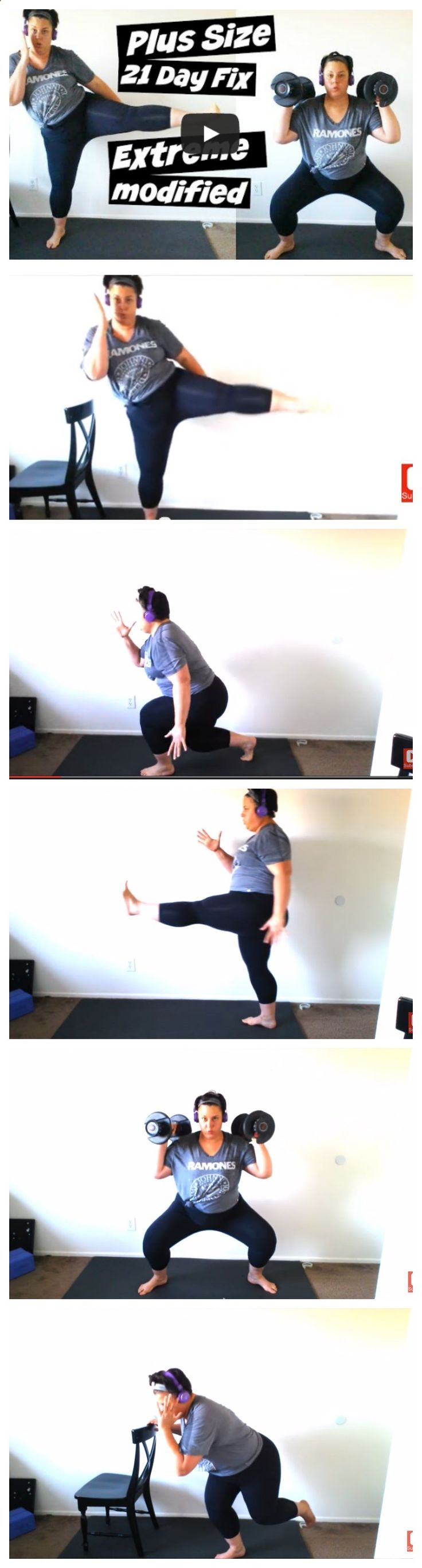Plus Size 21 Day Fix Extreme Workout Modification. This is how I modify the workouts at my ability and challenge it. This is not a video lesson on proper form, it is an example of how far I have come from when I started at over 330 lbs. and unable to lunge or squat. This video is FULL of modifications that can be used in programs like 21 Day Fix, P90X, Insanity Max :30, and Extreme. - CLICK PICTURE to WATCH full video - #plussize #workout #exercise #modification #weightloss #results --...