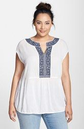 Caslon® Embroidered Boho Top (Plus Size)
