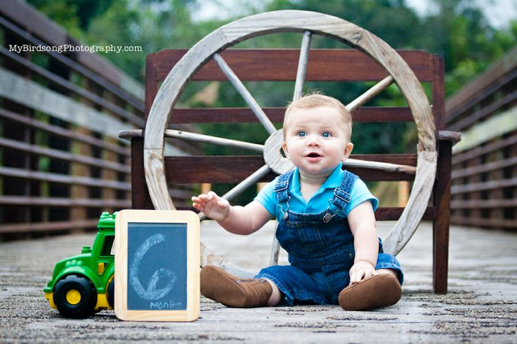 6 Month Country Boy! Great prop ideas for your babies photos. Look around your house, you never know what you could find! Country boy photos, 6 month photo ideas, unique country props for child photos, country photography
