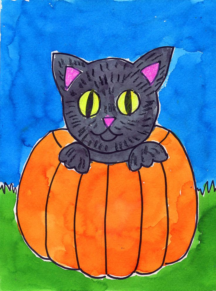 Art Projects for Kids: Cat in a Pumpkin Painting