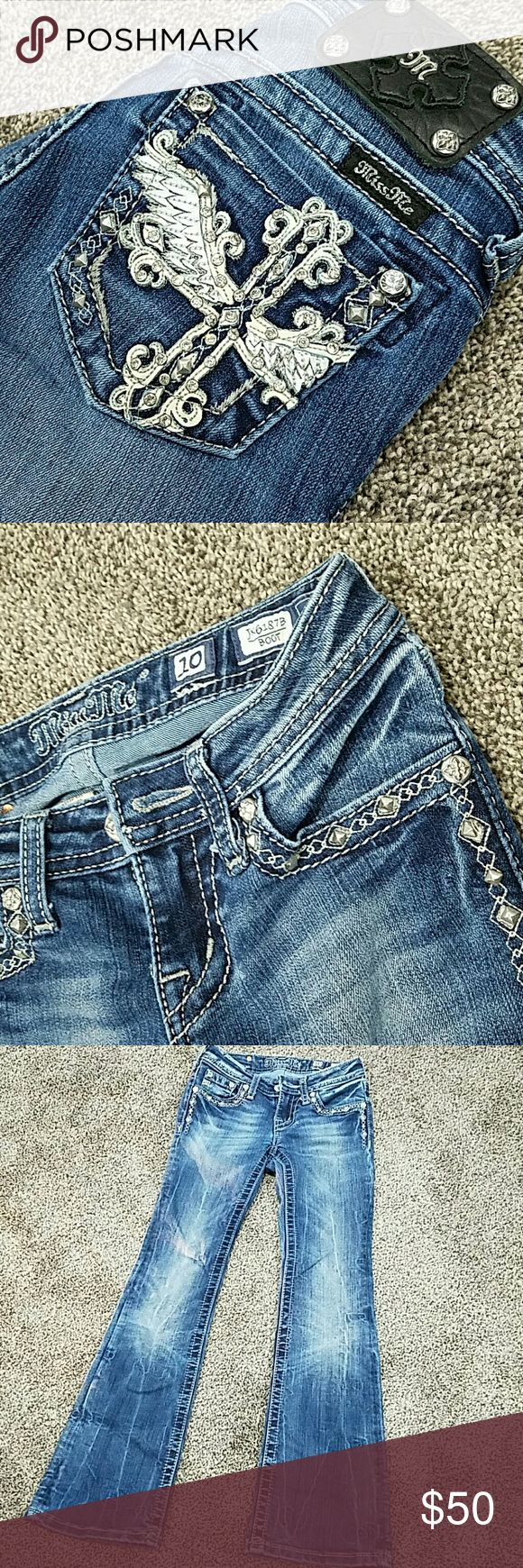 Girls Miss Me Jeans Size 10 Girls Miss Me jeans. Pocket detailing on the front and back. Size 10, excellent condition. Miss Me Bottoms Jeans