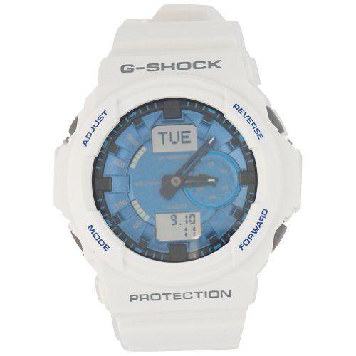 Casio G Shock Analog Digital White/Blue Dial Men's Watch - GA150MF-7A #Watchesforsaleonline http://watchesforsaleonline.blogspot.ro/2016/01/casio-g-shock-ga-150a-watches.html