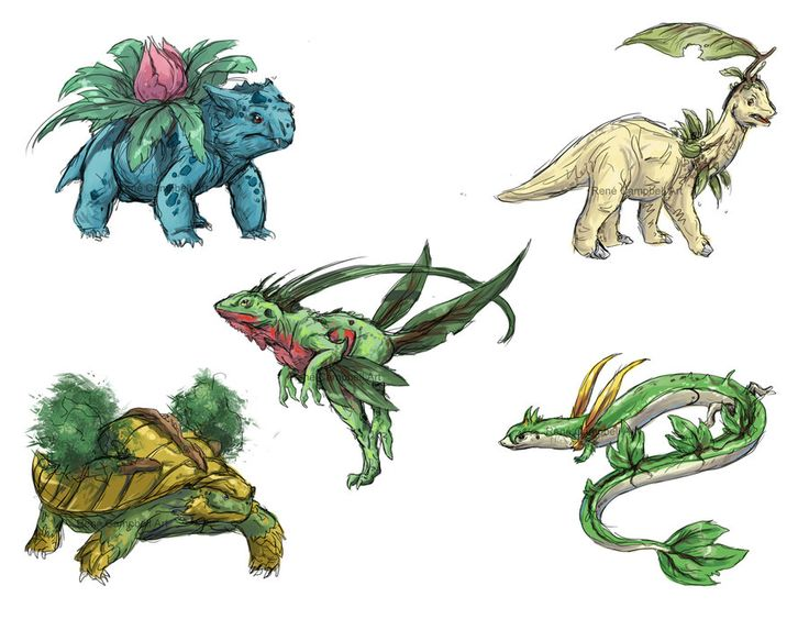 Realistic Pokemon Sketches: Grass 2nd Evolutions by ~nauvasca on deviantART