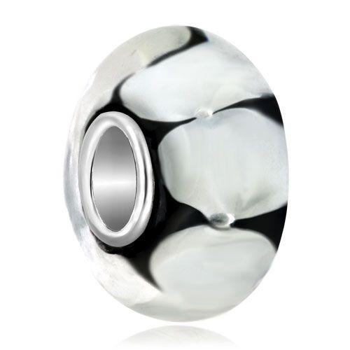 Elegant White Crystal Flower Fit Murano Glass Beads Charms Bracelets All Brands Pugster.com