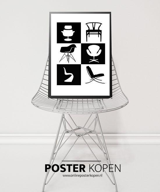 Poster met stoelen ontwerpen van Hans Jørgen Wegner – Deense stoelontwerper