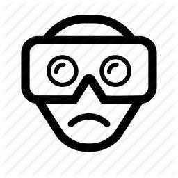cardboard, googles, helmet, reality, sad, virtual, vr icon