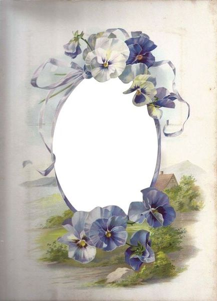 Pansy frame for tag or place card or invitation.  Maybe print on cream card stock.  Or a mat for a photo of the event.  No longer for sale, now it's just a picture.