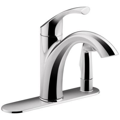 Koehler Kitchen Faucet Chrome With White Pull Out Sprayer