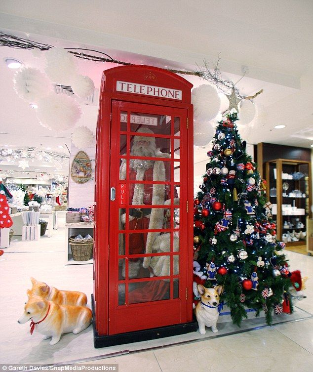 Classic Christmas: From iconic red telephone boxes to life-size Santa models, the store has been decorated in a traditional style