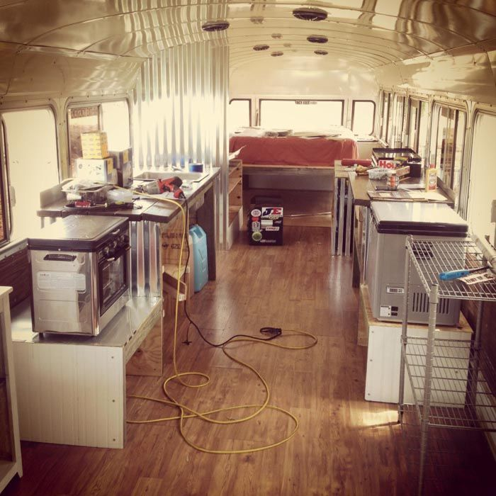 17 best ideas about bluebird buses old school finally got some furniture and appliances in and it starts looking more like a home · bluebird busescamping