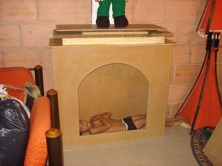 As hizo mi esposo la chimenea navidad pinterest - Hacer una chimenea ...