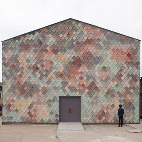 Colourful shingles front Assemble's Yardhouse studios for east London creatives, Sugarhouse Yard