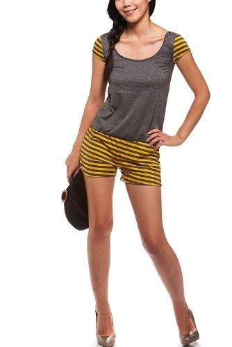 Women's cotton solid/striped romper with elastic waist $27.99
