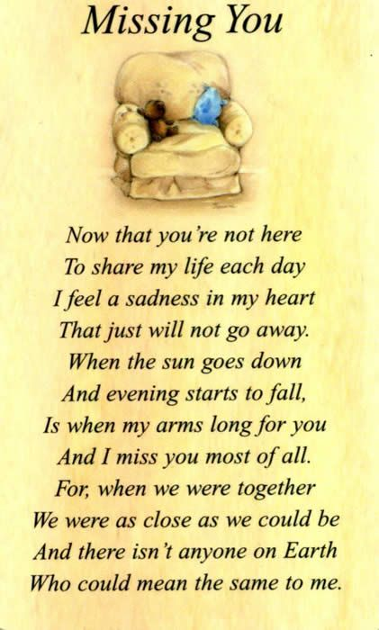 I miss everything about you, my love.  Until I see you again in Heaven and can hold you again, I will hold you in my heart.