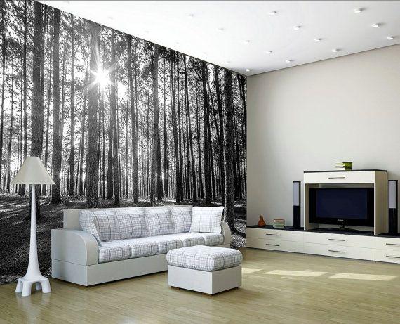 25 beste idee n over bos behang op pinterest bos slaapkamer boom behangpapier en - Muur deco volwassen kamer ...