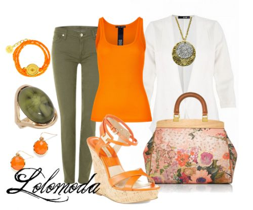 Stylish #outfit for #women, See more here: http://lolomoda.com/classic-outfit-formal-wear/ - Love the green and orange togeher!