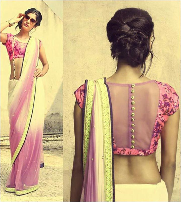 Blouse Back Neck Designs - Pretty Pink Blouse Sheer Back Neck Design