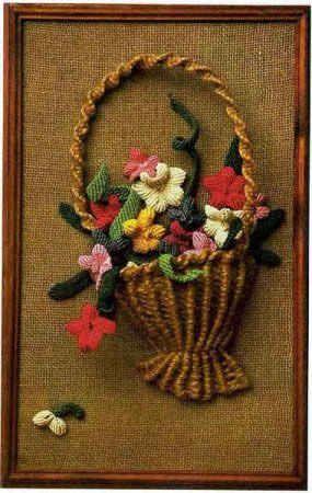 Плетеная в технике макраме корзина с цветами