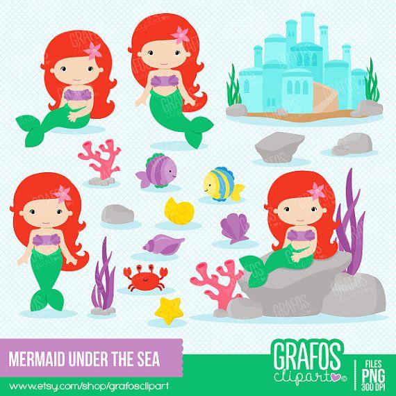 MERMAID under the sea Digital Clipart Set by GRAFOSclipart