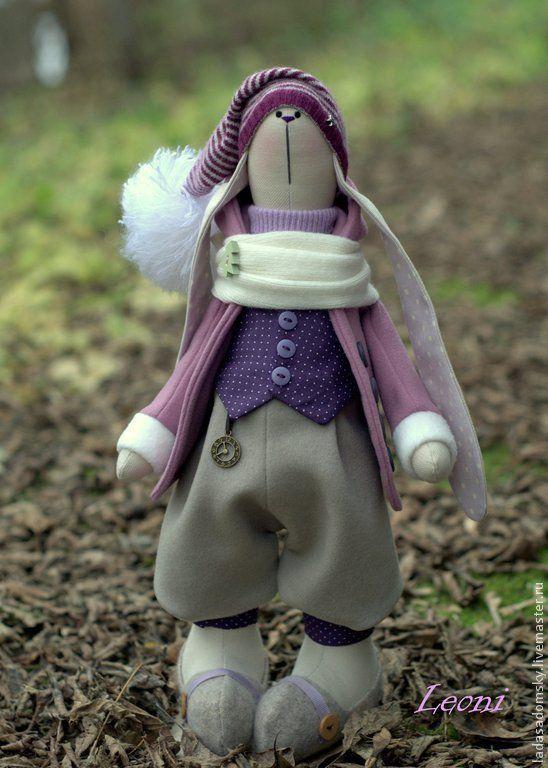 Купить Заяц Leoni - текстильная игрушка (39 см) - сиреневый, зайка игрушка, зайка