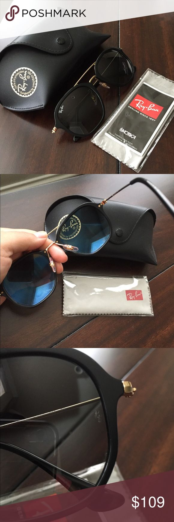 🔥 HOT BUY 🔥 Ray-Ban sum glasses Ray-Ban sun glasses in black and gold. Excellent condition. Comes with box and glasses wipe and instructions. Beautiful design and 100% authentic. No fakes on my page ever. Ray-Ban like new glasses. Ray-Ban Accessories Glasses