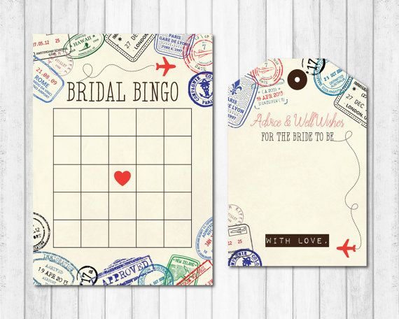 Bridal Bingo Bridal Shower Games Travel Themed by sweettalkdesigns