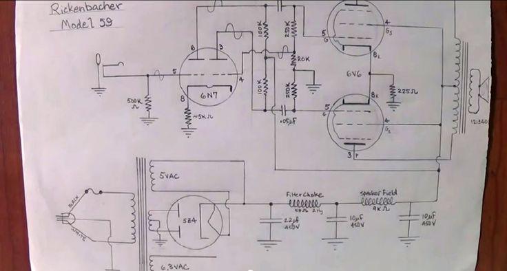 Elektrisch principe schema van oude 'Rickenbacher' AMP - model 59  uit 1939
