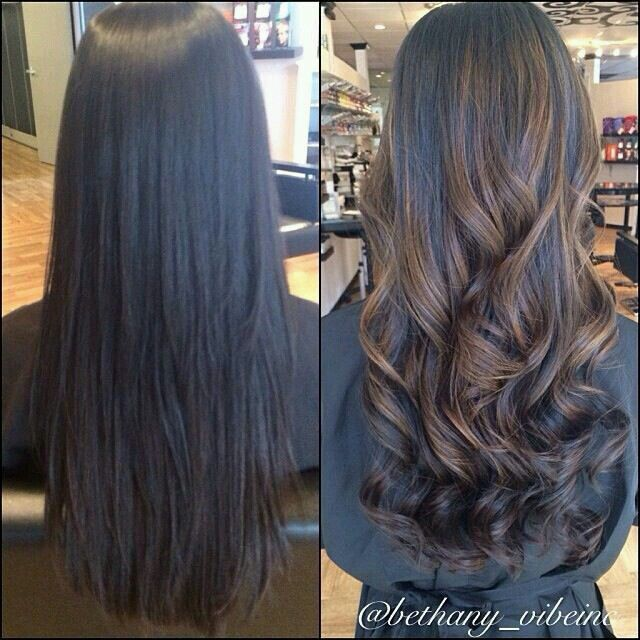 Balayage black hair                                                       …