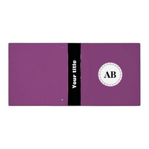 Byzantium purple solid color with monogram 3 ring binder