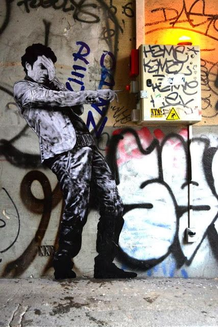 """""""The Red Button"""" by Levalet, Paris"""