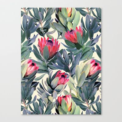 Painted+Protea+Pattern+Canvas+Print+by+Micklyn+-+$85.00