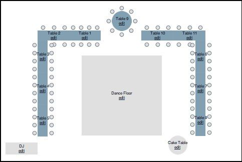 Sample seating diagram for long tables and a sweetheart or head table. Assigned tables. Assigned seating. Floor plan.