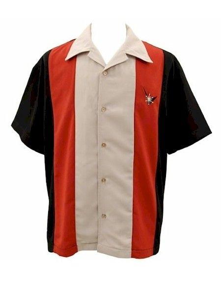 Mens Black Orange Tan Star Embroidered Button Up Retro Bowling Shirt