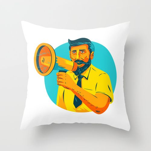 Bearded Hipster Man With Megaphone WPA Throw Pillow WPA style illustration of bearded hipster man holding megaphone viewed from front set inside circle on isolated background. #illustration #BeardedHipsterMan