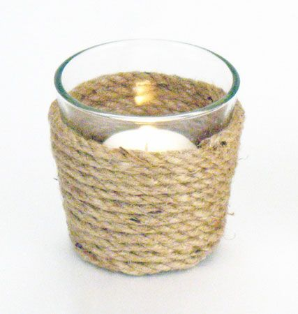 Rope-Wrapped Votive Candle Holders | Beach & Nautical Party Decorations - I can totally make these with twine!