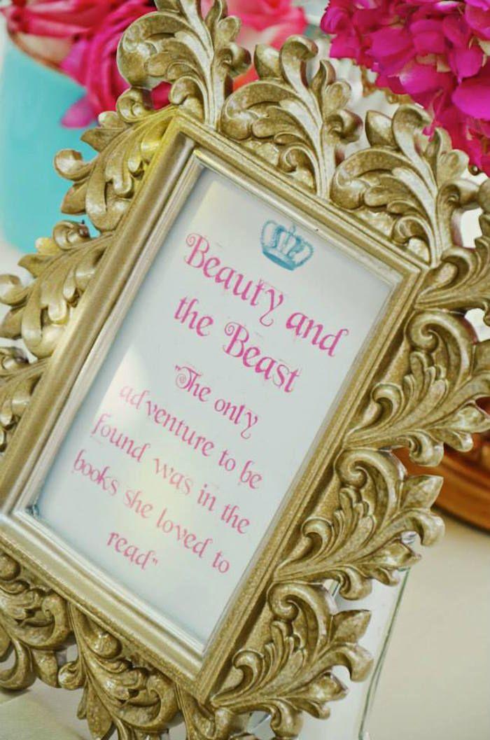 Beauty and the Beast Table Centerpiece at a Fairytale Princess Baby Shower on KarasPartyIdeas.com #fairytale #princess #babyshower