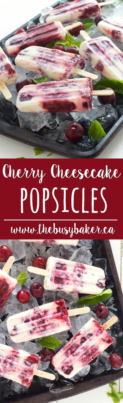 These Cherry Cheesecake Popsicles are perfect for summer holidays! www.thebusybaker.ca