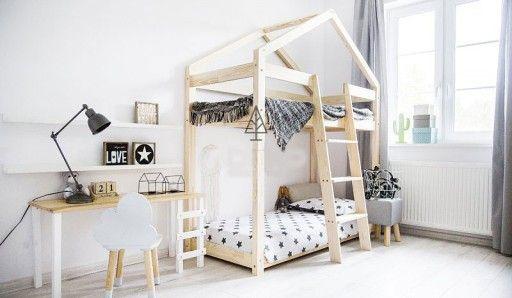 łóżko Piętrowe Domek Drewniany Dzieci Młodzieży