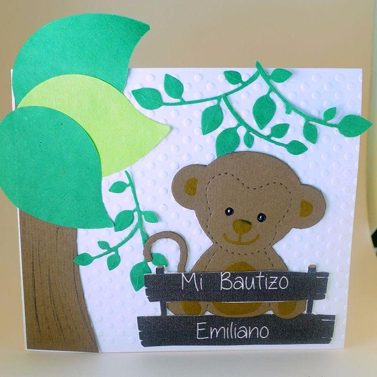 """Invitación para Bautizo """"Changuito"""" #ondinecollection #selvamagica #tematicasparafiestas #tiendaonline #fiestainfantil"""