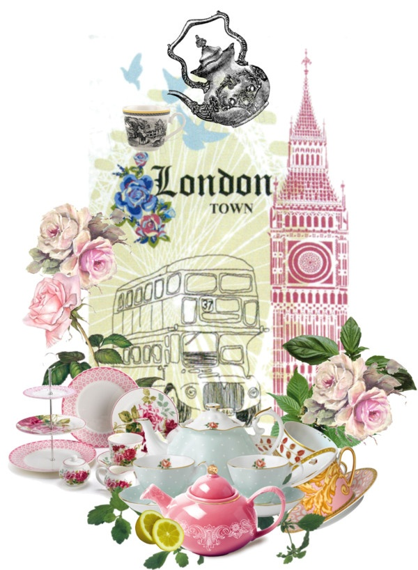 """London tea"" by kathy-martenson-sanko ❤ liked on Polyvore"