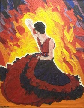 Passion Flamenco - mixed media glass mosaic flamenco romantic woman dance art by Liza Wheeler