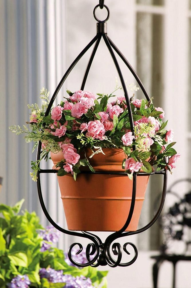 Decorative Indoor/Outdoor Hanging Teardrop Metal Planter with Metal Scrollwork $29.99