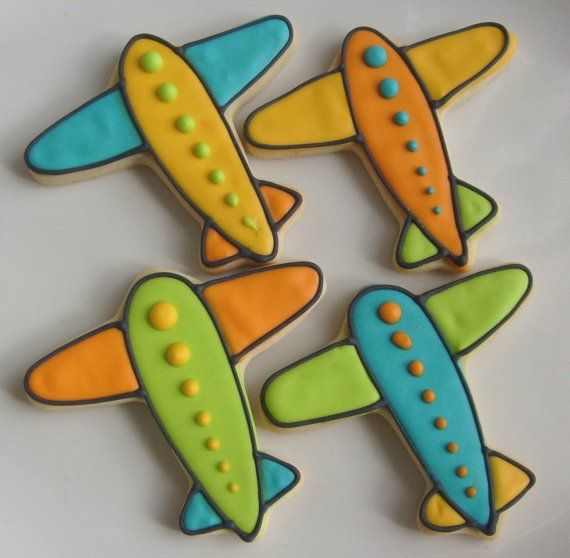 Airplane Cookies Train Cookies 1 Dozen by lorisplace on Etsy