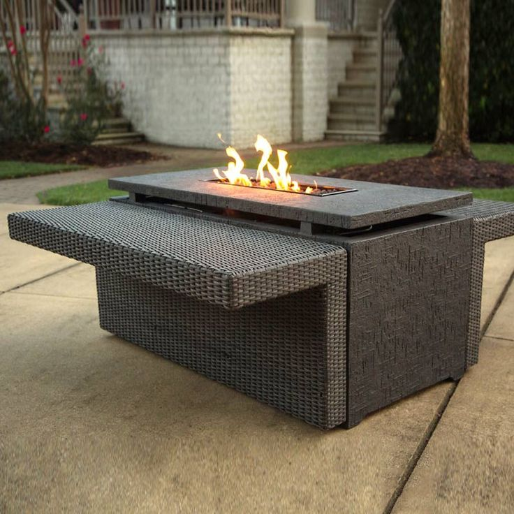 Agio Marietta Gas Fire Pit With Wicker Side Tables