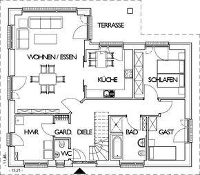 Winkelbungalow Grundriss Erdgeschoss mit 108,54 m² Wohnfläche