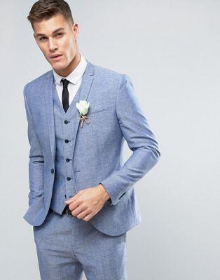 Noak Slim Wedding Suit Jacket In Linen Nepp