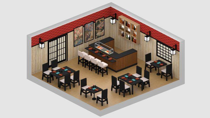 Japanese Restaurant 3d Model Restaurant Plan Japanese Restaurant Restaurant Interior Design