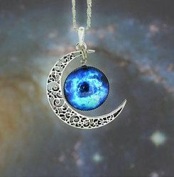 Stellar Crescent Moon and Galaxy on Silver Plated 18 by MKBejewel, $10.95